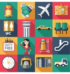 set airport flat icons flat style design vector image