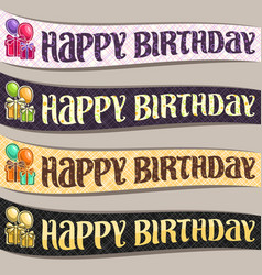 set birthday ribbons vector image