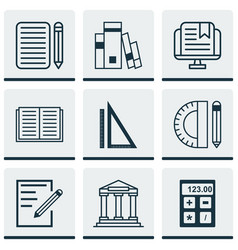 Set of 9 school icons includes education tools vector