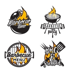 Set of barbecue labels Creative vector image