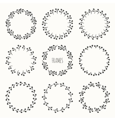 Set of hand drawn autumn frame of berries Wreath vector