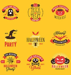 Set of Happy Halloween Badges Stickers Labels vector