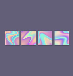 set of holographic bright colorful backgrounds vector image