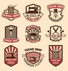 set of vintage tailor shop emblems design vector image