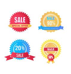 set sale labels special offer laurel branches vector image