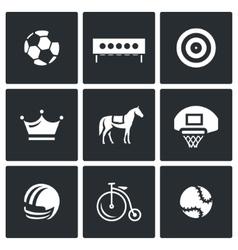 set sport icons soccer biathlon vector image