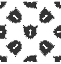 shield with keyhole icon seamless pattern vector image