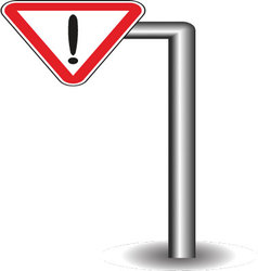 Sign exclamation mark in red triangle on the stick vector