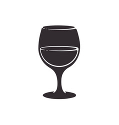 Silhouette a glass with wine vector