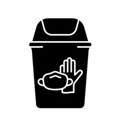 Silhouette trash can with latex glove face vector