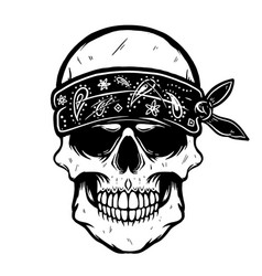 skull in bandana design element for poster t vector image