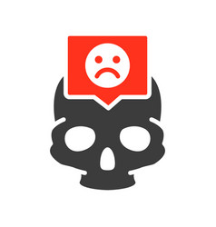 skull with sad face in speech bubble colored icon vector image