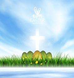 Spring Landscape Easter Eggs vector