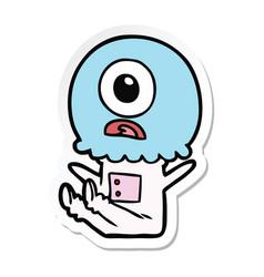 Sticker of a cartoon cyclops alien spaceman vector
