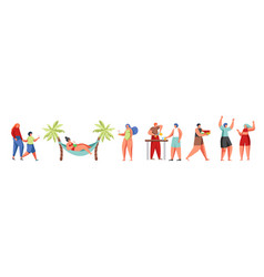 summer beach people flat isolated vector image