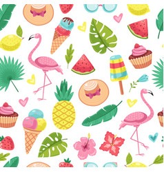 Summer seamless pattern tropical flamingo ice vector