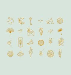symbols flat light turquoise vector image