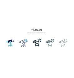 telescope icon in different style two colored vector image