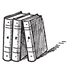 Three books or standing upright vintage engraving vector