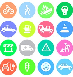 Traffic application icons in color circles vector