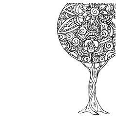 Tree mandala art for coloring book vector