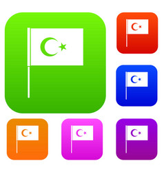 turkish flag set color collection vector image