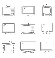 Tv icons set linear icons tv isolated vector