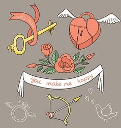 Valentines Day set elements vector image