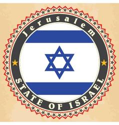 vintage label cards israel flag vector image
