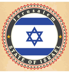 Vintage label cards of Israel flag vector