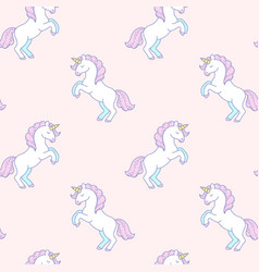 White unicorns pattern vector