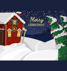 winter landscape with christmas houses firtree vector image