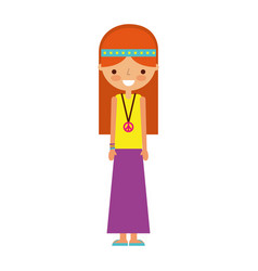 woman hippie lifestyle character vector image