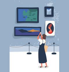 Woman visiting gallery flat vector