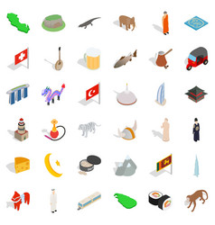 world tourism icons set isometric style vector image