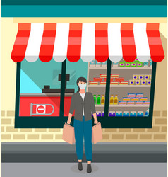 young woman with paper shopping bags near vector image