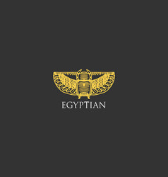 egyptian logo with scarab beetle symbol of ancient vector image vector image