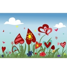 Hearts on sky background vector image