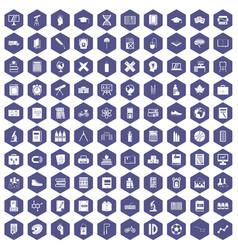 100 school icons hexagon purple vector image vector image