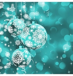 Christmas ball over glow light bokeh EPS 8 vector image vector image