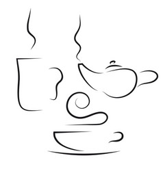 coffee and tea set vector image vector image