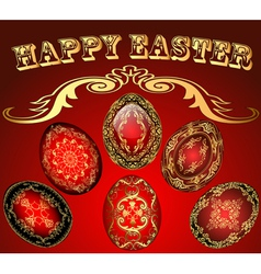 Easter card with the eggs with gold ornament vector image