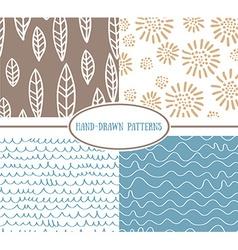 Set og hand-drawn simple seamless patterns vector image