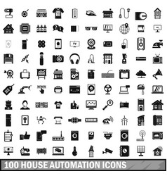 100 house automation icons set simple style vector