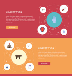 flat icons jewelry gun protection and other vector image vector image