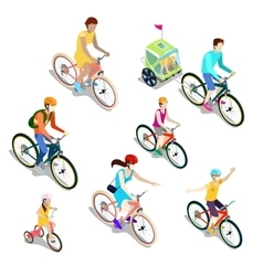 Isometric People on Bicycles Family Cyclists vector image vector image