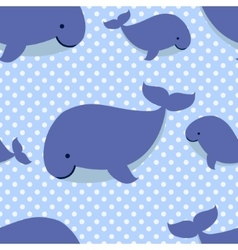 Seamless pattern with cute cartoon whales on blue vector