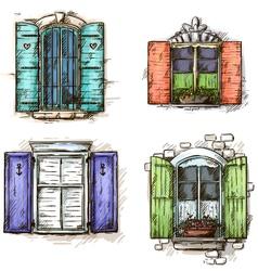 set of vintage windows hand drawn vector image