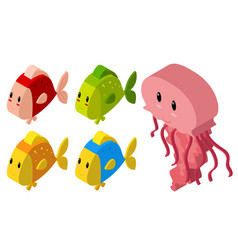 3d design for jellyfish and many fish vector image