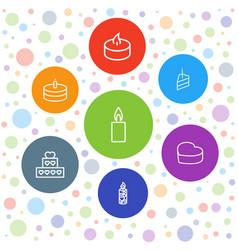 7 candle icons vector